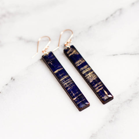 Cobalt + Gold Brushstroke Bar Earrings