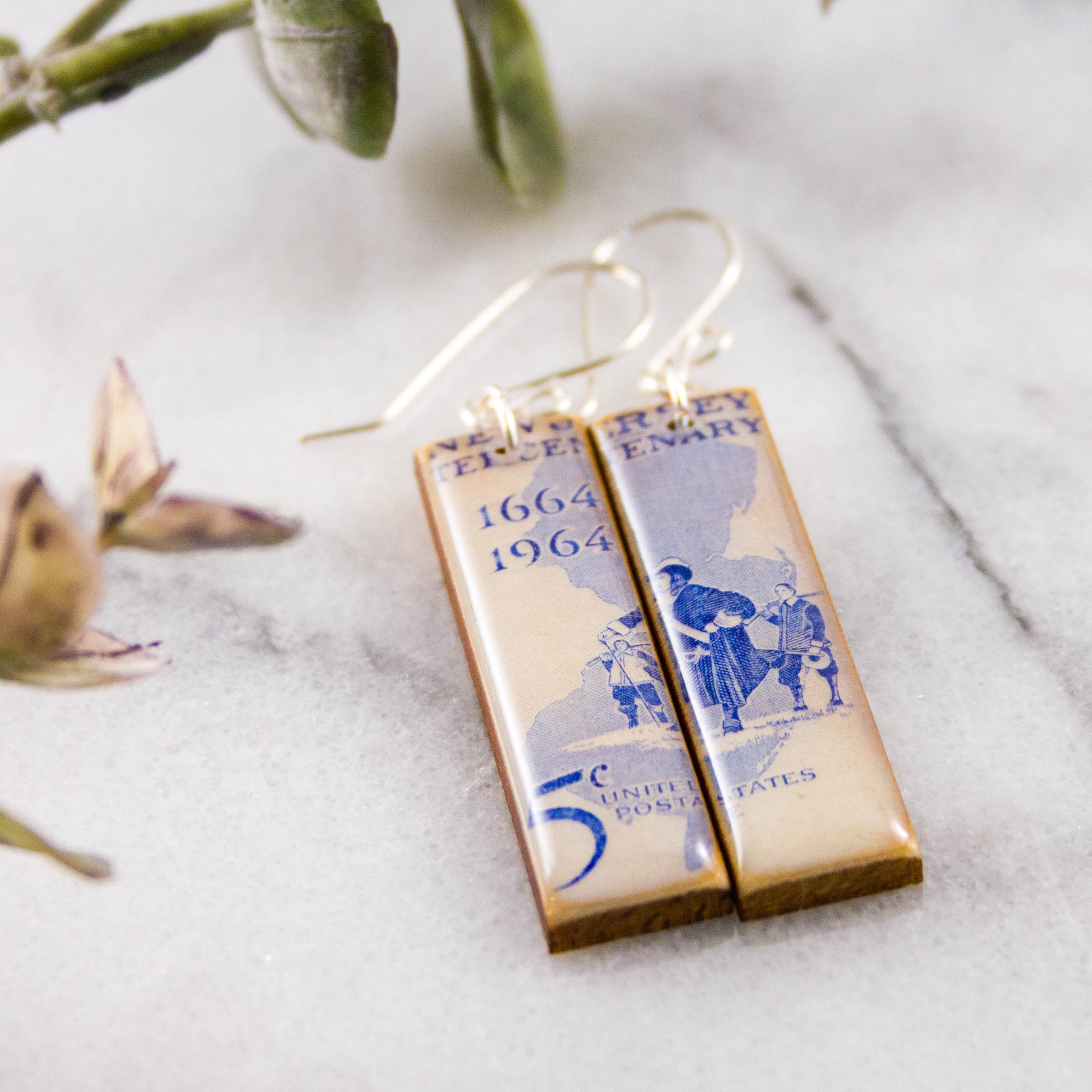 NEW JERSEY- Vintage Postage Stamp Earrings