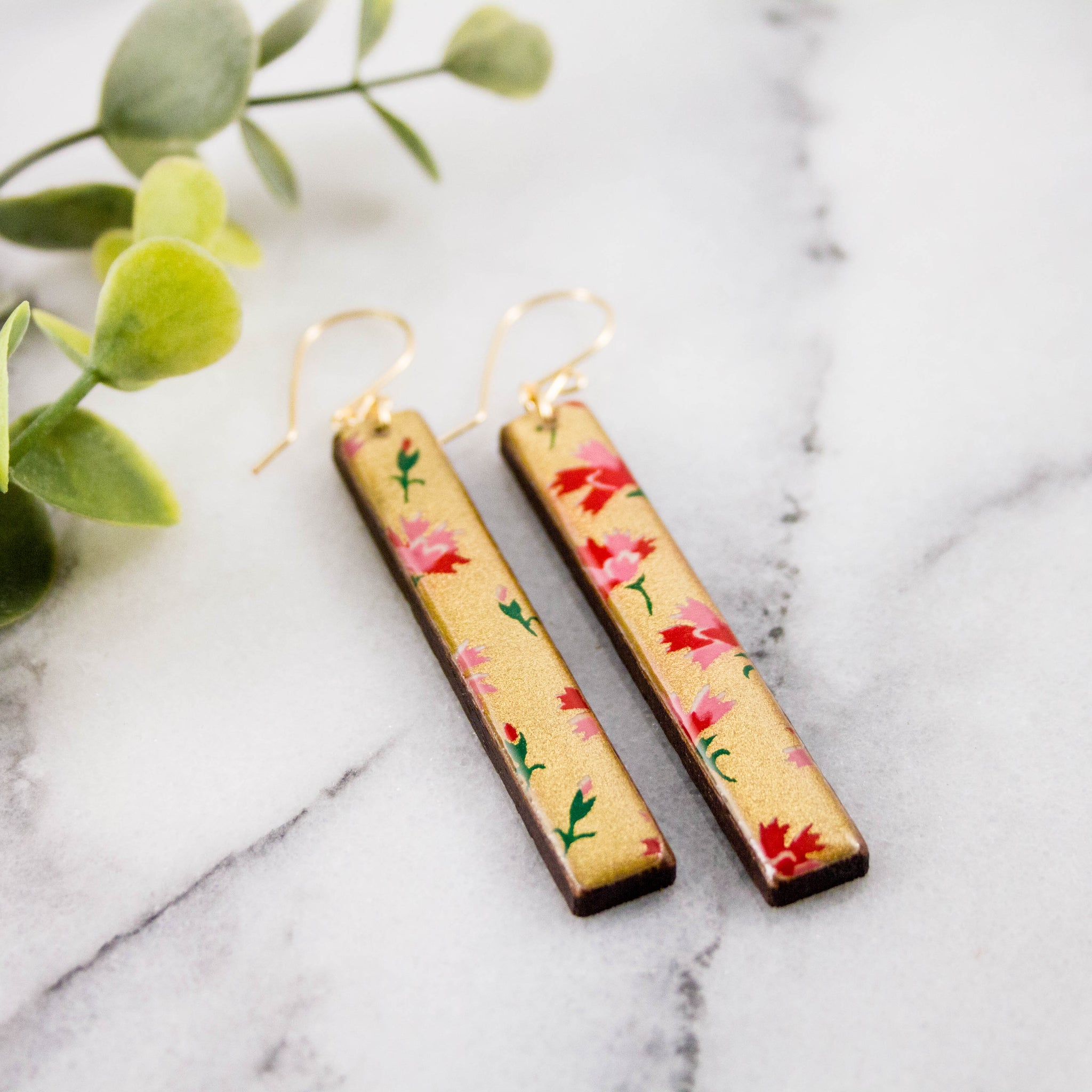 Gold + Pink Floral Bar Earrings