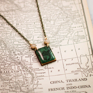 HONG KONG- Antique Postage Stamp Turquoise Portrait Necklace