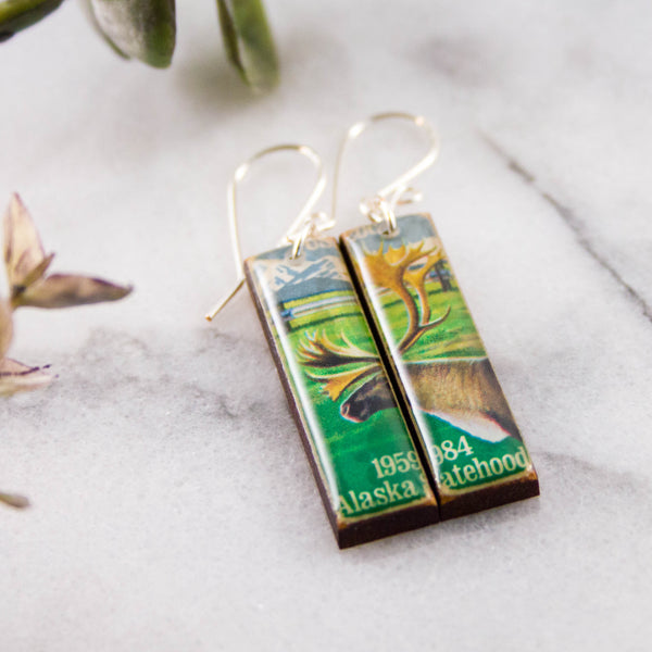 ALASKA- Vintage Postage Stamp Earrings
