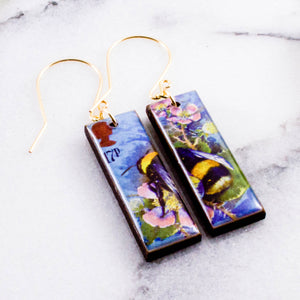 Vintage UK Postage Stamp Bee Earrings