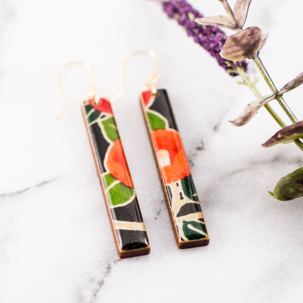 Black Poppy Bar Earrings