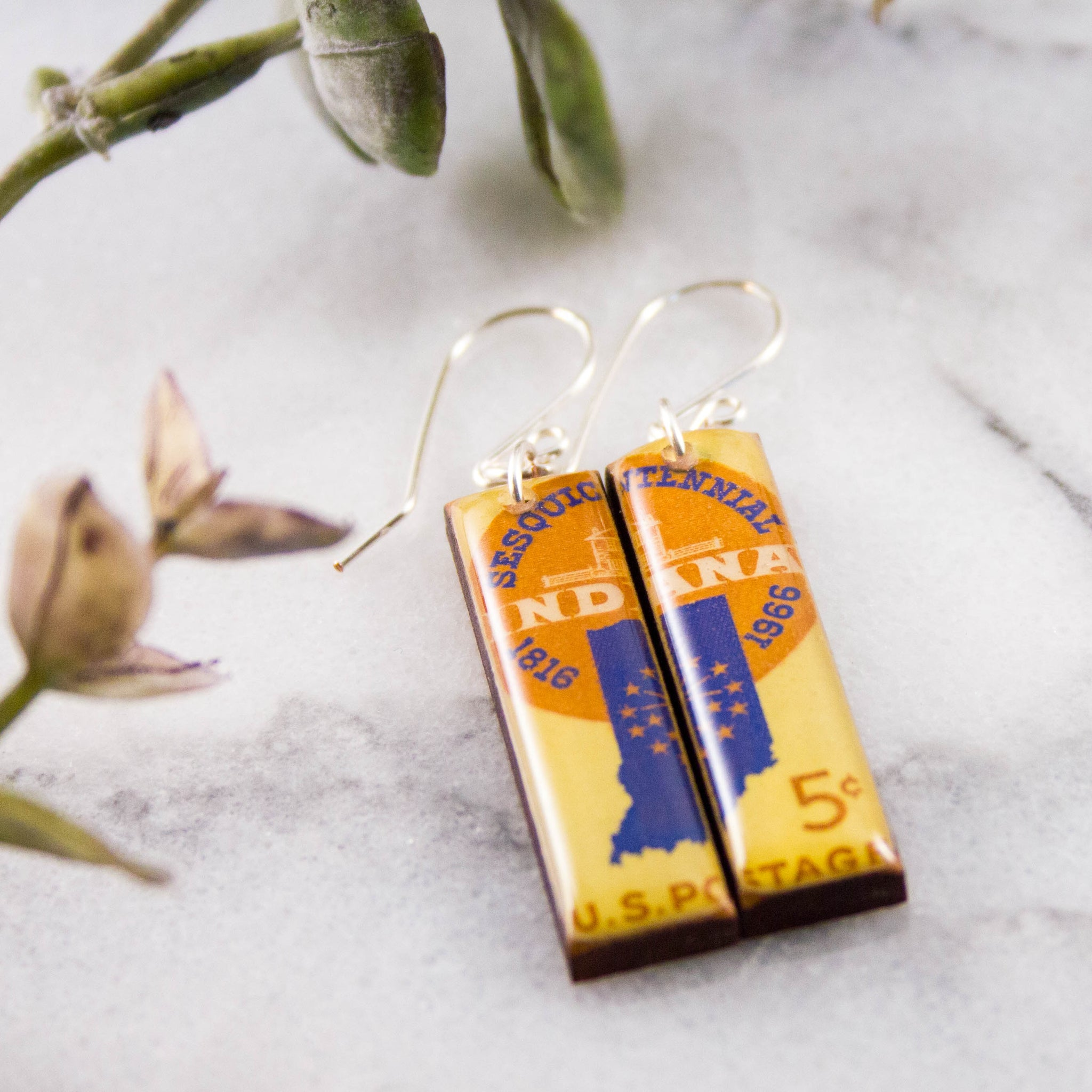 INDIANA- Vintage Postage Stamp Earrings