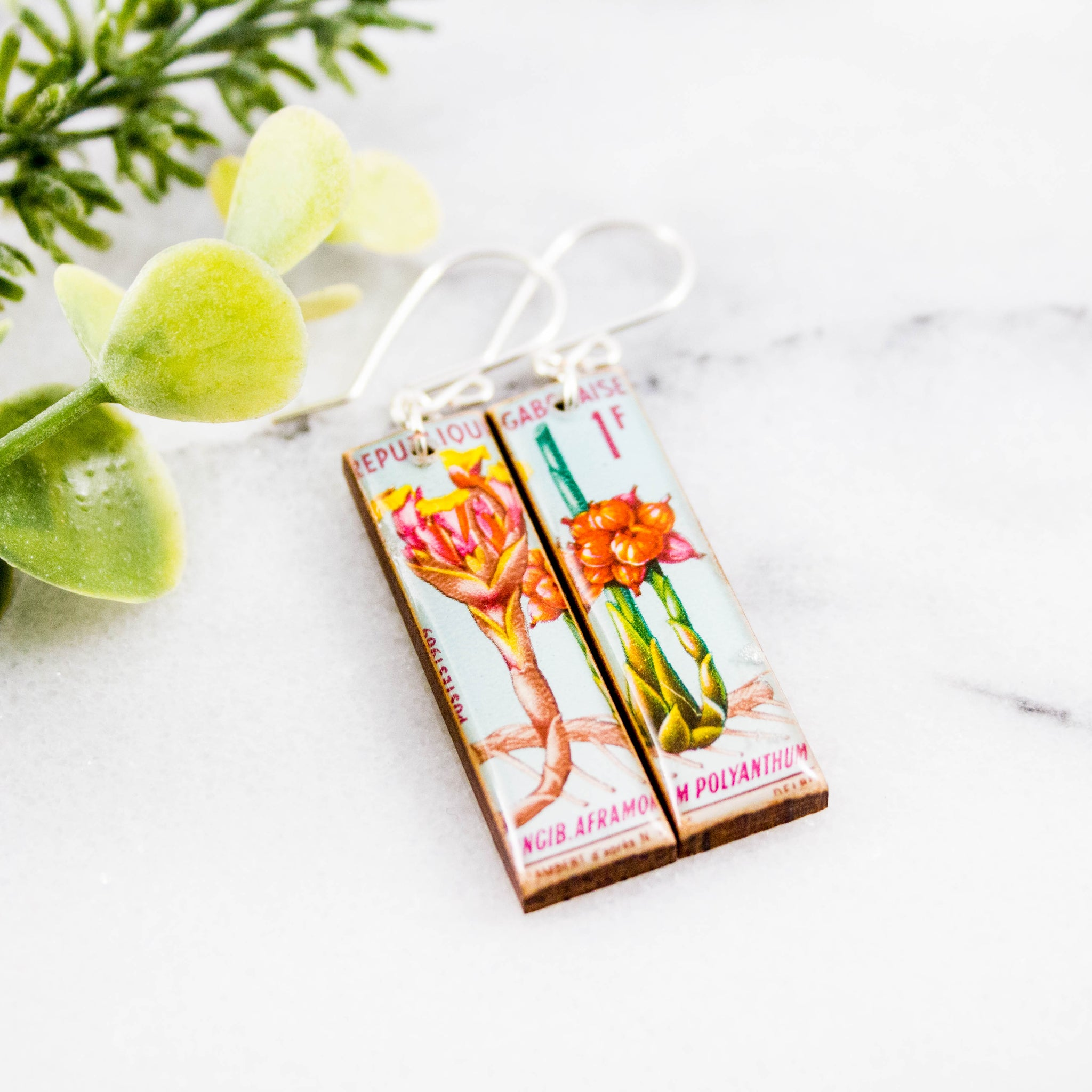 GABON- Vintage Flower Postage Stamp Earrings