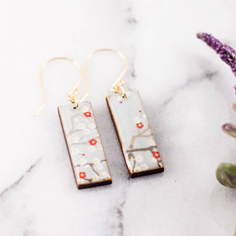 Pale Blue Cherry Blossom Rectangle Earrings