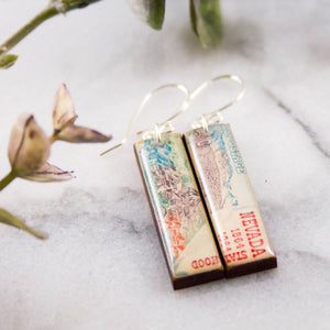 NEVADA- Vintage Postage Stamp Earrings
