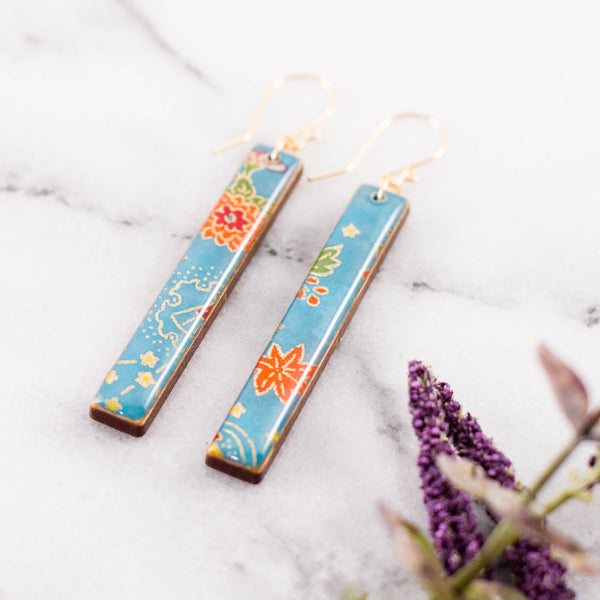 Cerulean Floral Bar Earrings
