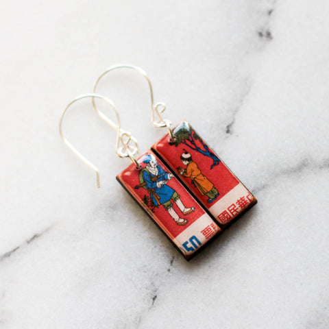 CHINA- Vintage Postage Stamp Crimson Earrings