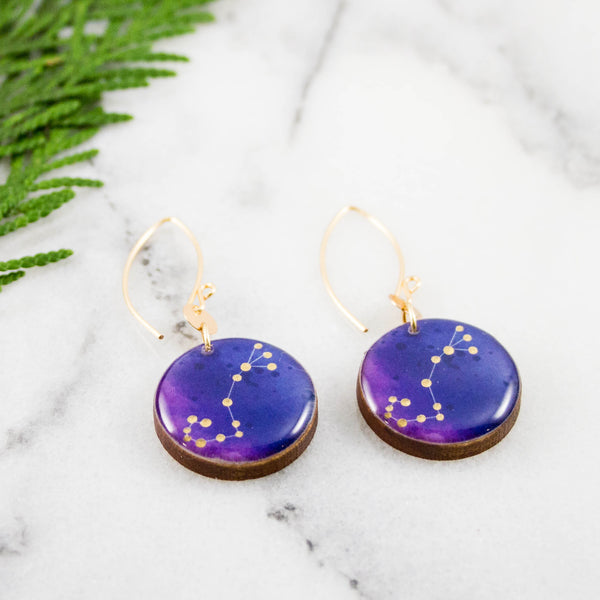 Scorpio Handpainted Constellation Earrings