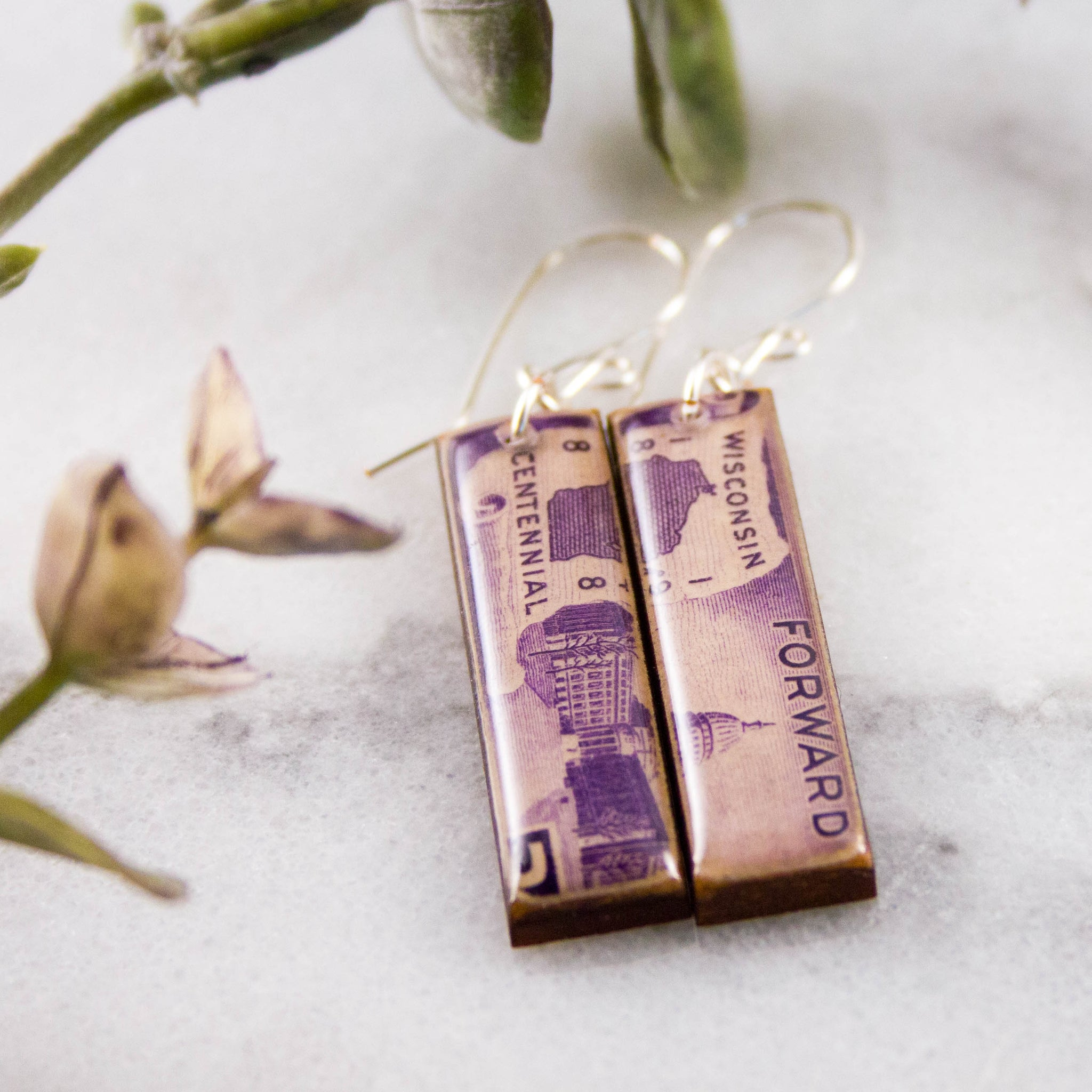 WISCONSIN- Vintage Postage Stamp Earrings