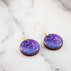 Aquarius Handpainted Constellation Earrings