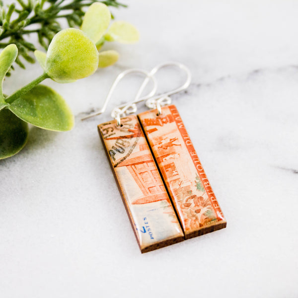 MALI- Vintage Postage Stamp Earrings