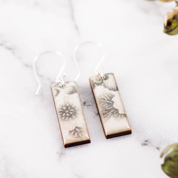 Silver + White Floral Rectangle Earrings