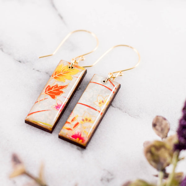 Spring Floral Rectangle Earring