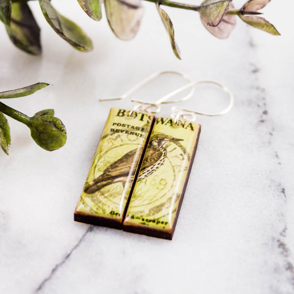 BOTSWANA- Vintage Bird Postage Stamp Earrings