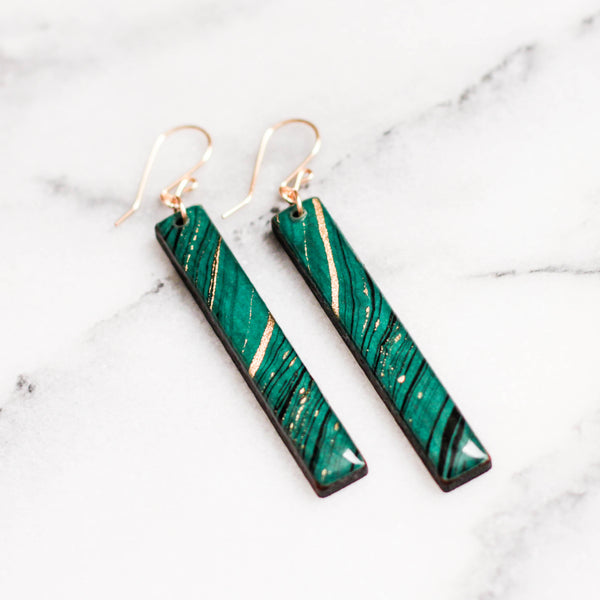 Turquoise + Gold Marble Bar Earrings