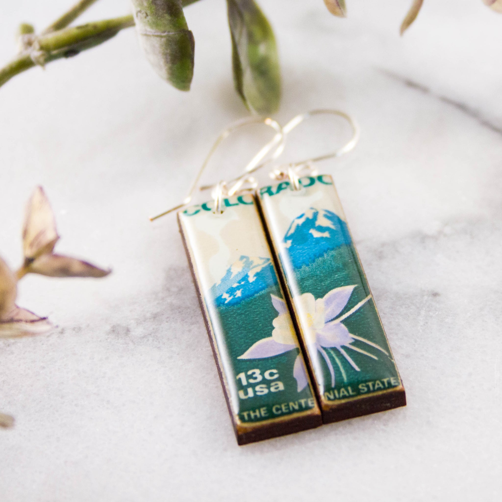 COLORADO- Vintage Postage Stamp Earrings