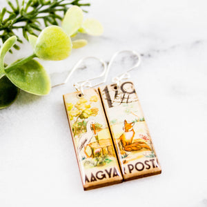 HUNGARY- Vintage Drinking Bird + Fox Postage Stamp Earrings