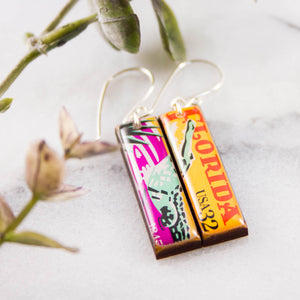 FLORIDA- Vintage Postage Stamp Earrings