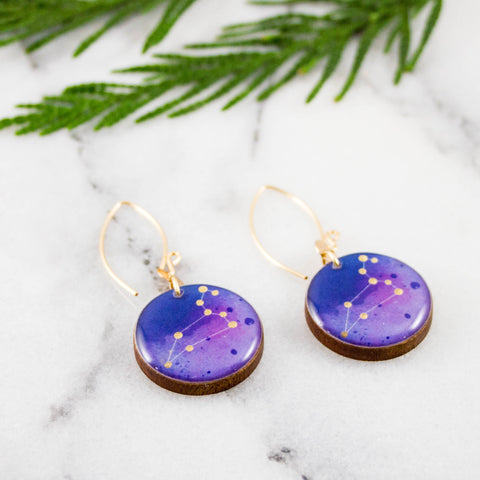 Leo Handpainted Constellation Earrings
