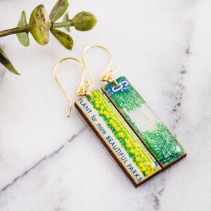 US- 1969 Beautification of America PARKS Vintage Postage Stamp Earrings