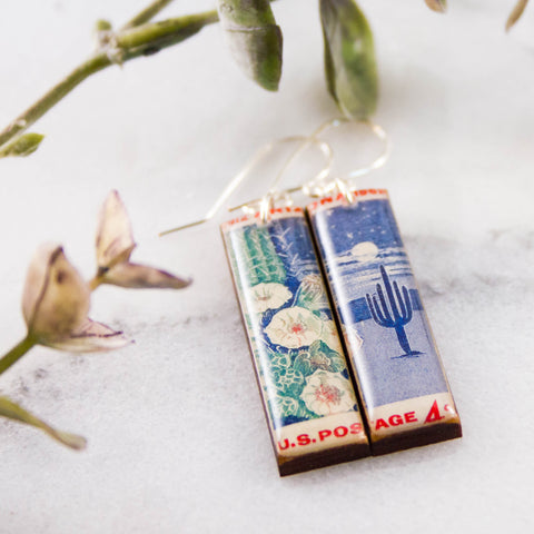 ARIZONA- Vintage Postage Stamp Earrings