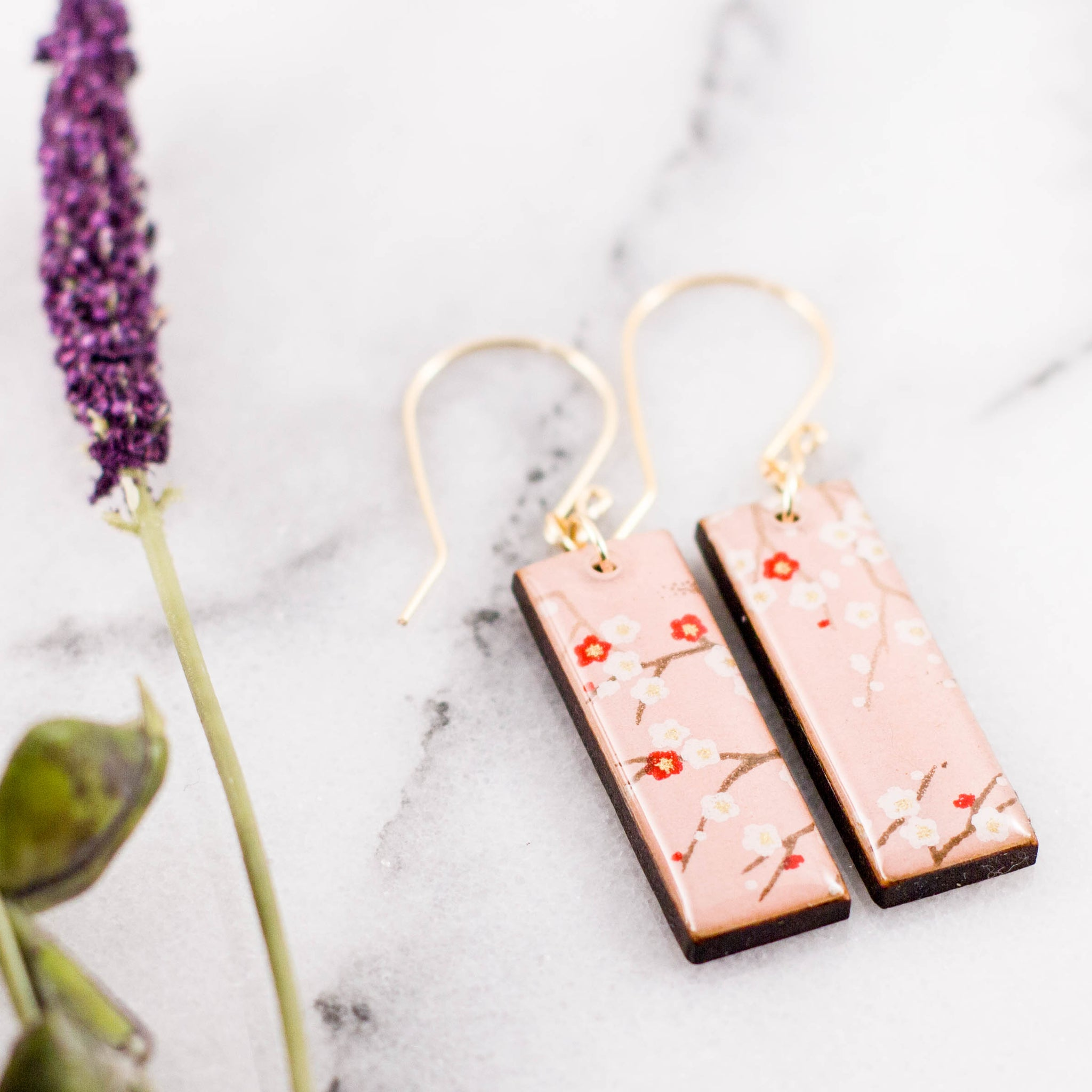 Pale Pink Cherry Blossom Rectangle Earrings