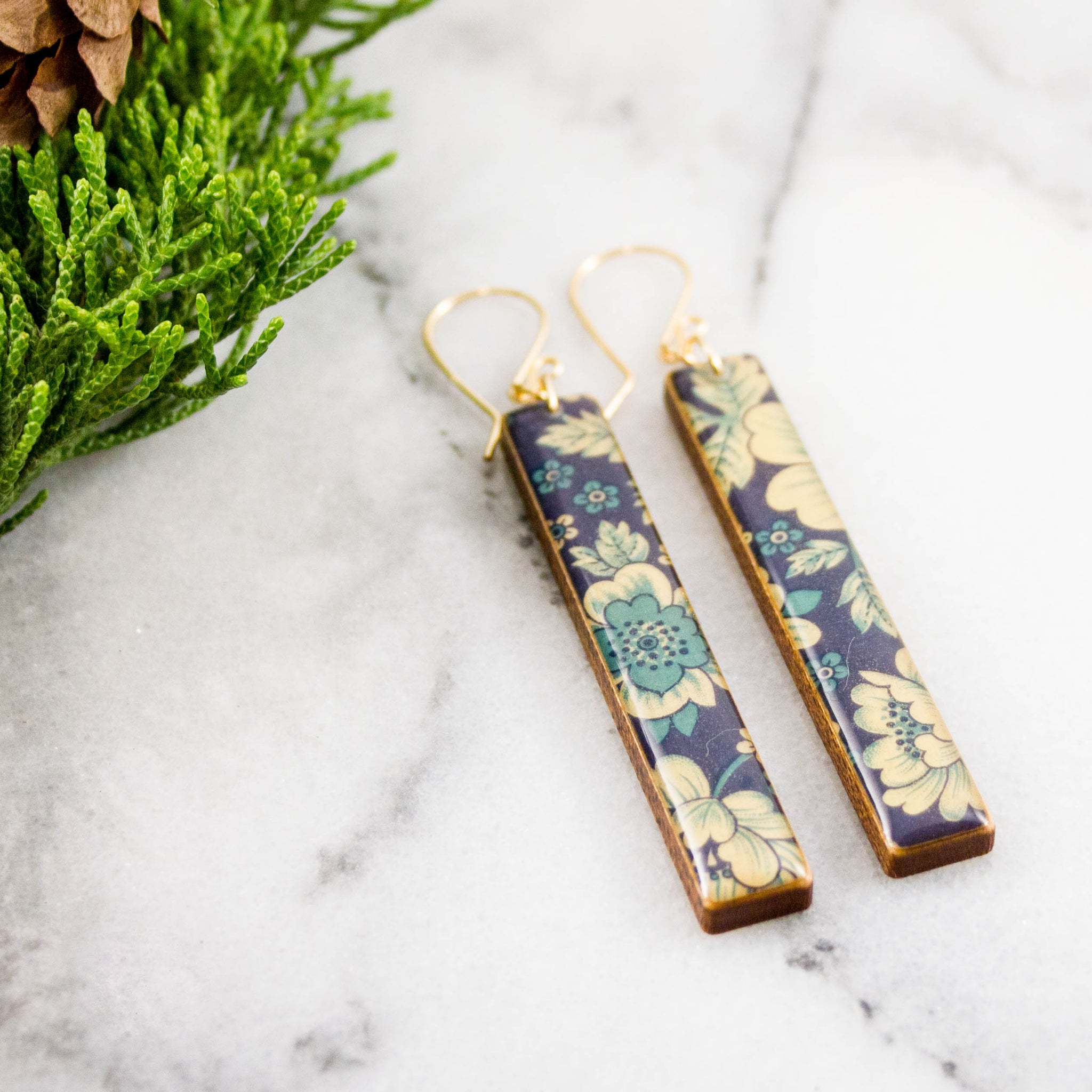 Blue + Cream Vintage Floral Bar Earrings
