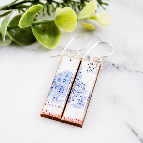 MASSACHUSETTS- Vintage Postage Stamp Earrings