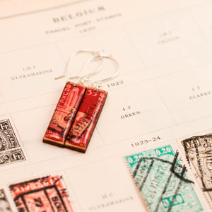 BELGIUM- Vintage Postage Stamp Bright Red Earrings