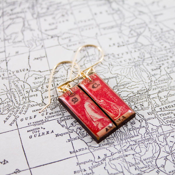 ANGOLA- Antique Red Postage Stamp Earrings