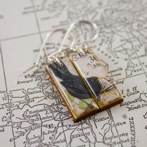 IRELAND- Vintage Blackbird Postage Stamp Earrings