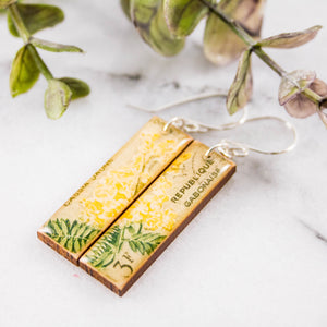 GABON- Vintage Floral Postage Stamp Earrings