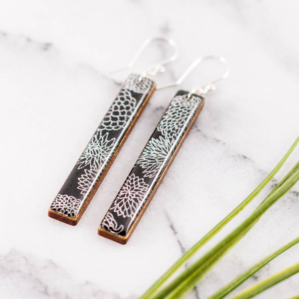 Black + Silver Zinnia Bar Earrings