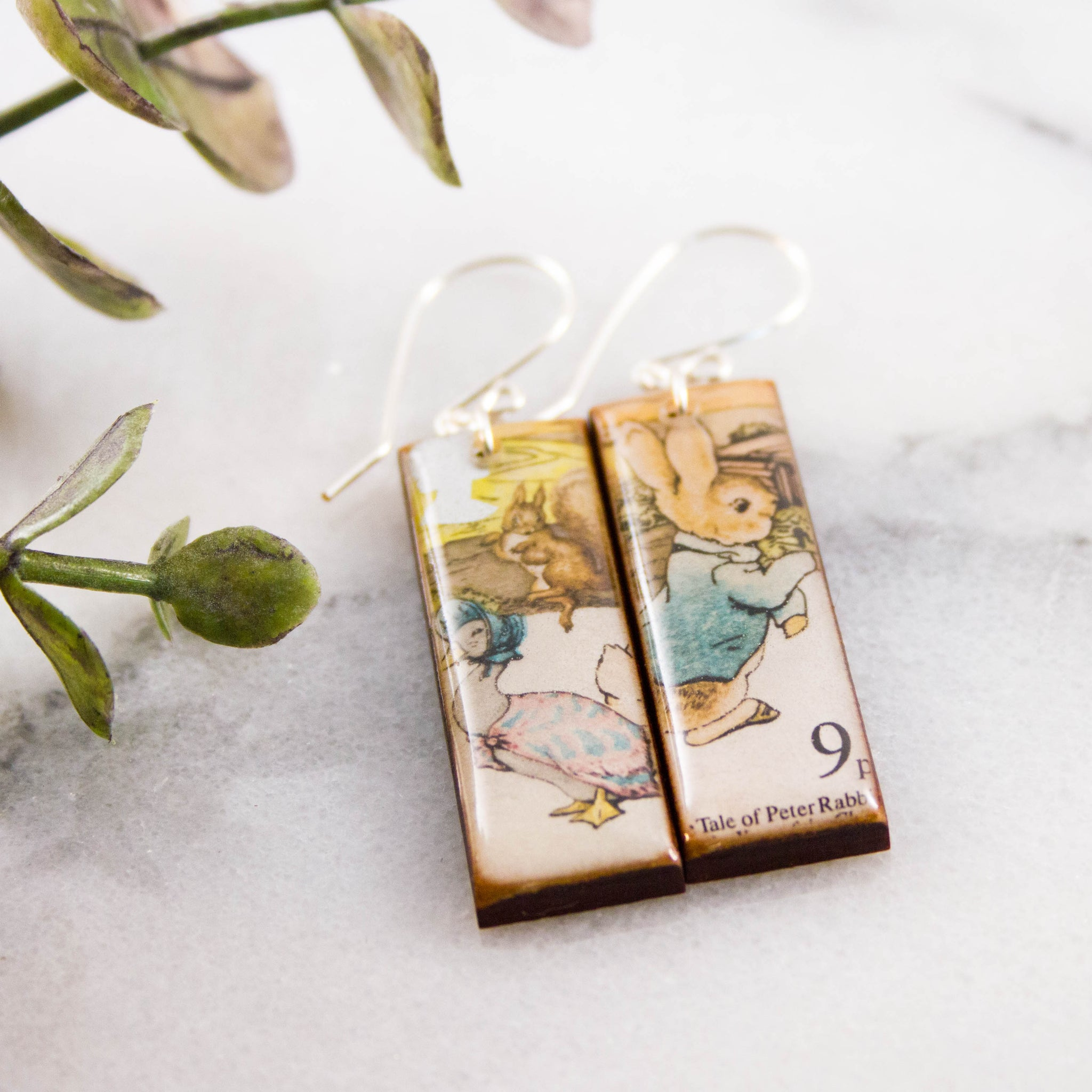 GREAT BRITAIN- Vintage Peter Rabbit Postage Stamp Earrings