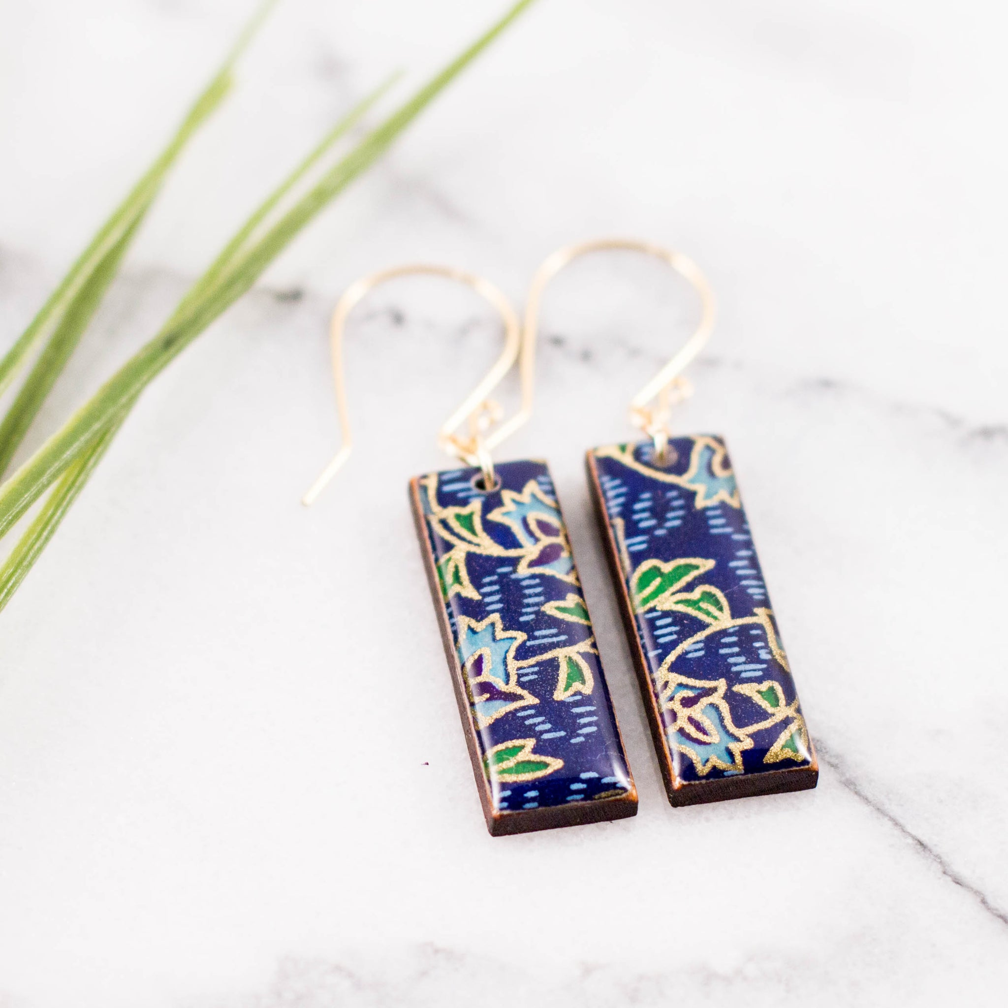 Royal + Gold Deco Floral Rectangle Earrings