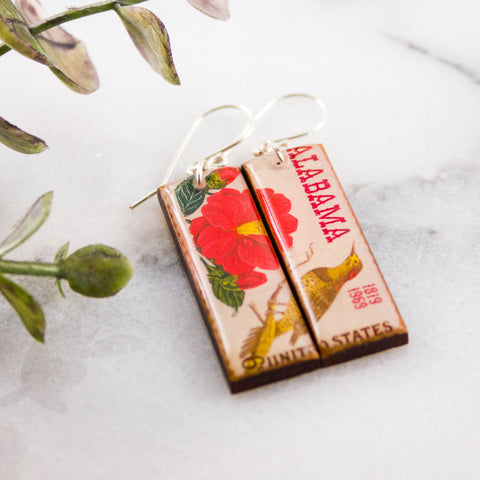 ALABAMA- Vintage Postage Stamp Earrings