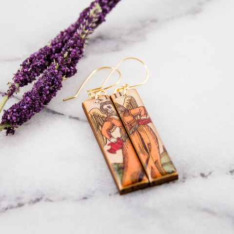 Italian Tarot Card Earrings- Temperance