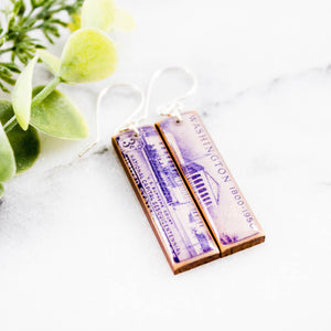 WASHINGTON DC- Vintage Postage Stamp Earrings