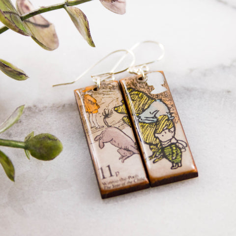 GREAT BRITAIN- Vintage Winnie the Pooh Postage Stamp Earrings