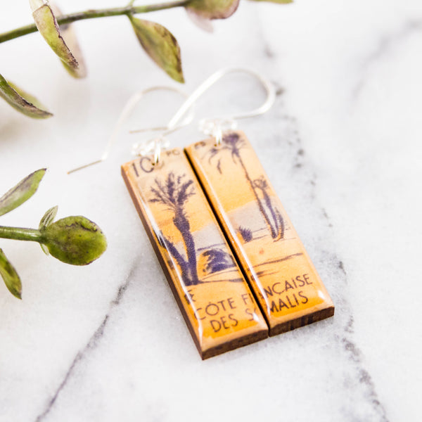 SOMALIA- Vintage Beach Postage Stamp Earrings