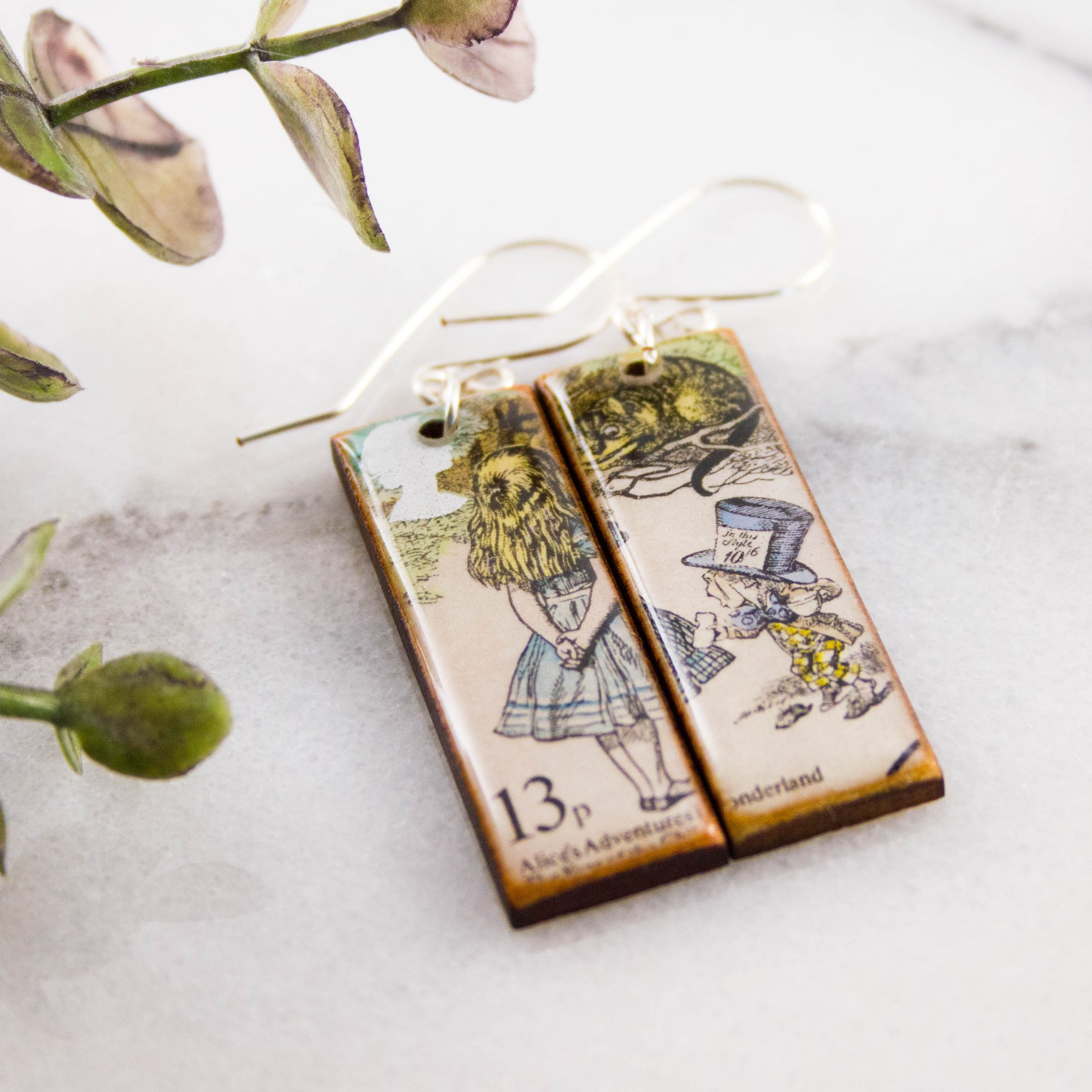 GREAT BRITAIN- Vintage Alice in Wonderland Postage Stamp Earrings