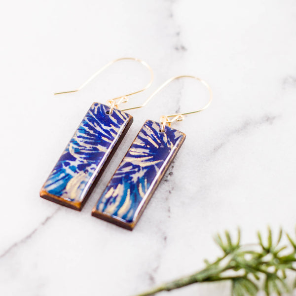 Teal + Royal Brushstroke Rectangle Earrings