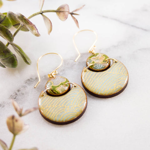 Japanese Double Circle Earrings- Natural Aqua