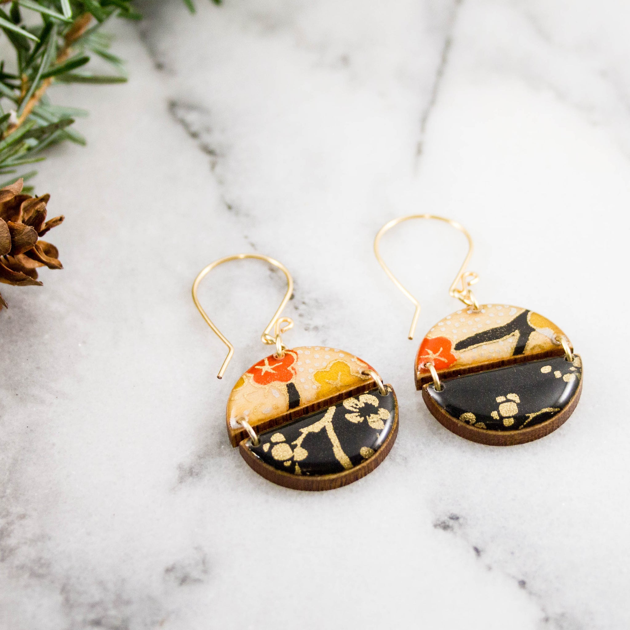 2 Halves Japanese Paper Earrings- Black + Gold