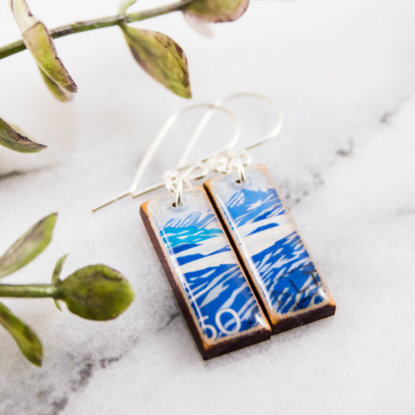 SWITZERLAND- Vintage Mountain Postage Stamp Earrings