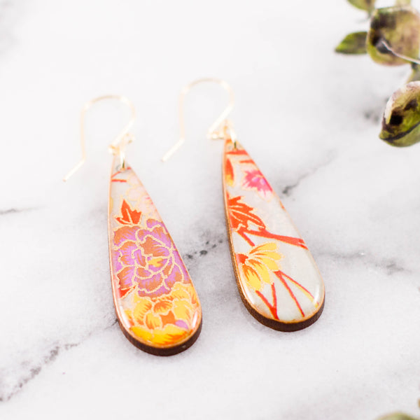 Teardrop Spring Floral Earrings