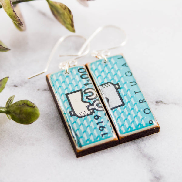 PORTUGAL- Vintage Turquoise Postage Stamp Earrings