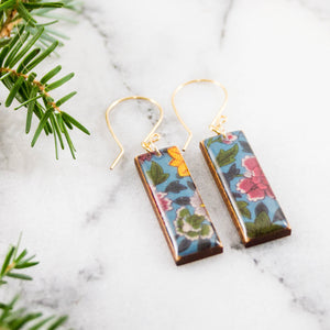 Vintage Floral Rectangle Earrings